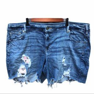Lane Bryant Floral Distressed Denim Shorts 24